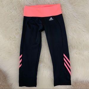 Adidas Leggings Climalite Cropped Coral Black SZ S